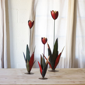 Set of 3 Recycled Metal Tulips
