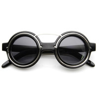 Steampunk Womens Fashion Round Sunglasses Metal Accents 8597