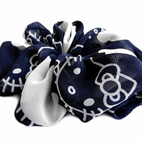 Funny Kittens Print Blue Large Hair Scrunchie Designer Chiffon Accessories Pony Tail Holder