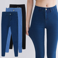 New Fashion Spring high waist jeans women's black skinny female pants plus size elastic pencil pants trousers