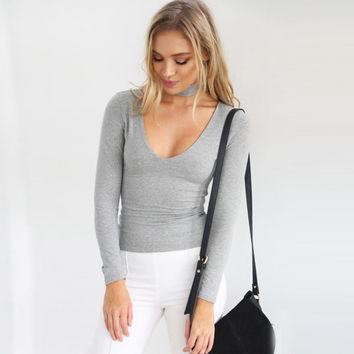 Grey Back Halter Plunging Long Sleeve Blouse
