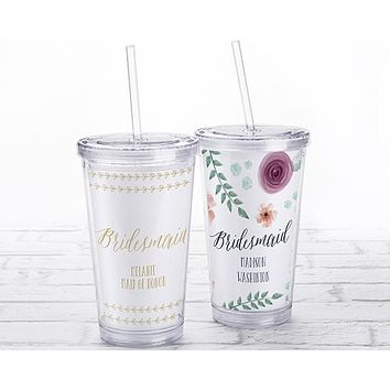 Acrylic Tumbler with Personalized Insert - Bridesmaid