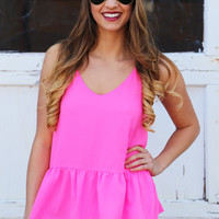 Brightest Color Babydoll Tank {Pink}: Buddy Love