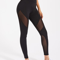 Active Mesh Panel Zip Detail Leggings -SheIn(Sheinside)