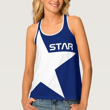 White Star blue background customizable Tank Top