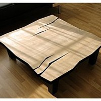 EcoVolveNow Modern Abstract COFFEE Table with Natural Lacquer Finish and Solid Poplar Tapered Legs