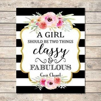 "A Girl Should Be Two Things, Classy And Fabulous - Coco Chanel Quote Art Print, Inspirational Art Print, Typography Wall Art, Unframed Print, 8""x10"" Black And White Stripes And Flowers - A440"