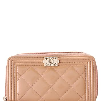Chanel Chanel Beige Quilted Patent Leather Boy Wallet | Bluefly.Com