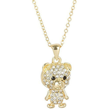 Heirloom Finds Clear Crystal Studded Goldtone Teddy Bear Necklace - Body Moves!