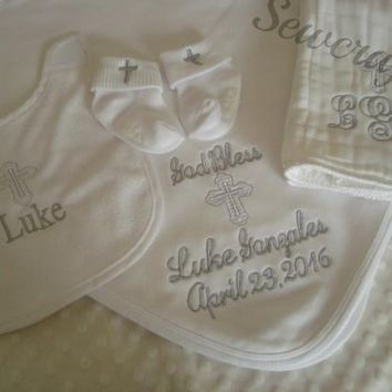 Personalized Baptism Blanket, Bib, Burp cloth and Socks  - name and/or monograms and Date