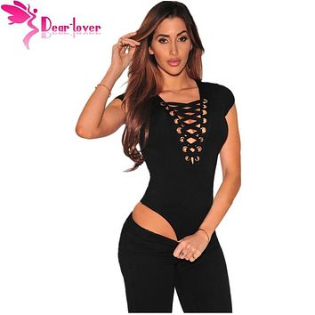 Dear Lover Cheap 1 Piece Women's Top 4 Colors Black Lace Up Cap Sleeves Bodysuit Casual Playsuits Rompers Tanks Vests LC32048