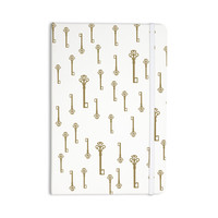 "Suzanne Carter ""Vintage Gold Keys II"" White Yellow Everything Notebook"