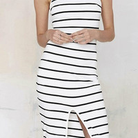 High Neck Striped Split Front Bodycon Midi Dress