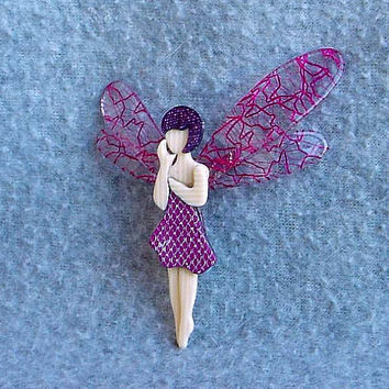 "Lea Stein Pink Fairy Pin 3"" Tall Tinkerbell Brooch Paris France Lace Wings Celluloid Laminate Vintage Costume Jewelry Glitter Cream Fashion"