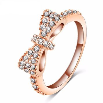 Jeweled Bow Tie Ring (in Rose Gold & Silver)
