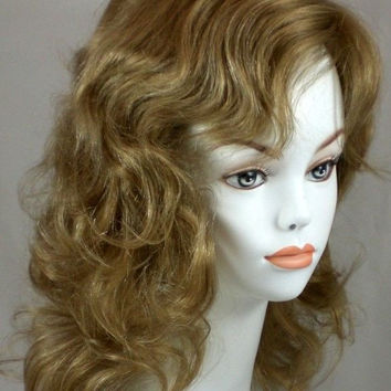 Lt Blonde/Lt Brown Highlight Human Hair Wavy Mid-length Wig Monofilament Top