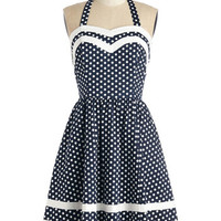 Bea & Dot Nautical Long Halter Fit & Flare Georgia Gallivanting Dress in Navy Dots