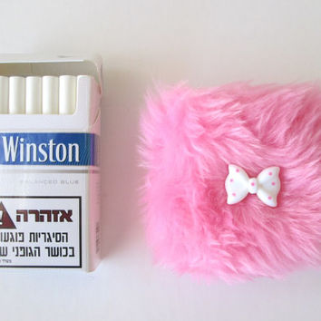 Baby Pink Cute Cigarette Case. Grunge Kawaii. Girly Cigarette Case. Sweet Lolita. 90s Furry. Soft Baby Pink Faux Fake Fur