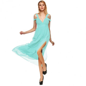 Women's Ladies Greek Style Long Chiffon Pleated Dress Deep V-neck Sexy Evening Cocktail Maxi Dresses
