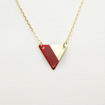 Minimalist Geometric Small Triangle Lined Necklace - Bordeaux Burgundy Wine Hand Painted Modern Raw Brass Jewelry - Gold Plated Chain