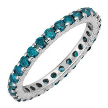 1.00CT Blue Diamond Eternity Ring 14K White Gold