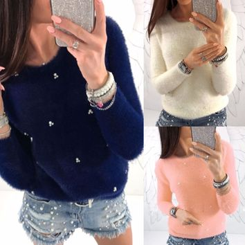 Embellished Winter Sweater - Women Winter Long Sleeve Sweater Pullover Hoodie Sweatshirt Casual Jumper Top