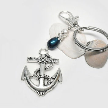 Anchor charm keychain, beaded nautical keychain, anchor beach keychain, blue and white keychain, swivel clasp charm, bag purse charm keyclip