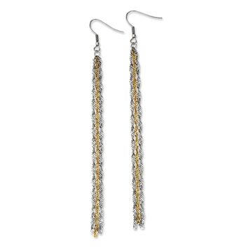 Two Tone Long Triple Strand Chain Dangle Earrings in Stainless Steel