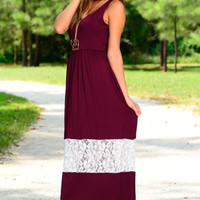Keep Up The Lace Maxi, Burgundy/White