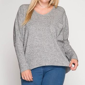 It's All About That Bling Baby Metallic Accent Sweater - Grey