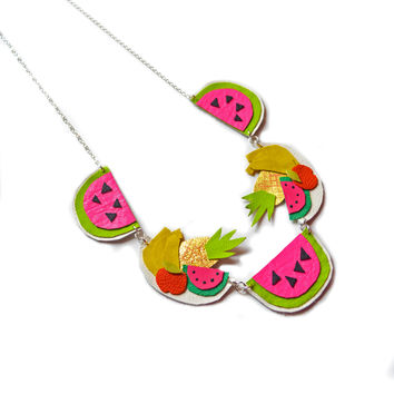 Fruit Statement Necklace, Watermelon Necklace, Pineapple Bannana Neon Charm Necklace | Boo and Boo Factory - Handmade Leather Jewelry