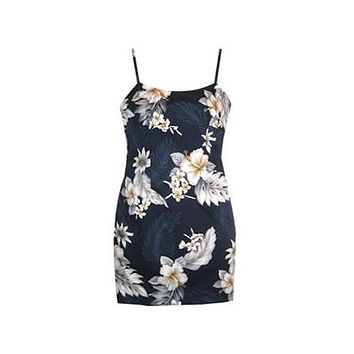Blueberry Navy Short Hawaiian Skinny Strap Floral Dress