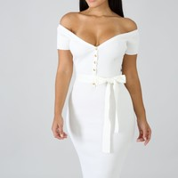 White Knit Off The Shoulder Bodycon Midi Dress