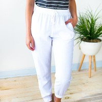 Nothing to Regret White Linen Joggers