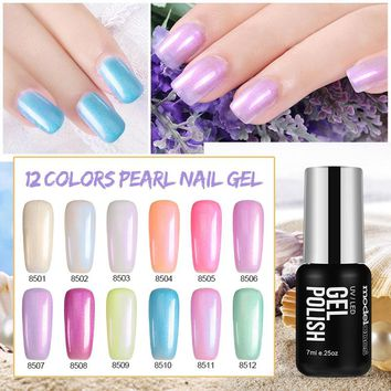 Modelones 7ML Pearl UV Nail Gel Polish Nail Art Led Nail Gel Varnish Soak Off Vernis Semi Permanent UV Nail Gel Lacquer