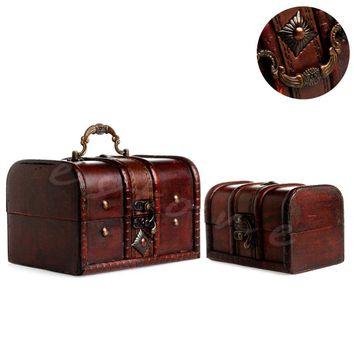 2 Piece Set Vintage Wooden Pirate Treasure Storage Chest