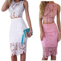 Fashion Women Summer Dress Lace 2 Piece Set Bodycon Sexy Dresses [9221956804]