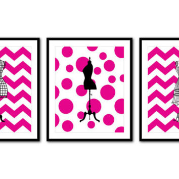 French Dress Form Silhouettes - Set of three 8 x 10 or larger prints - Fashion Wall Art Trio - Chevron polka dots - teen tween - mannequin