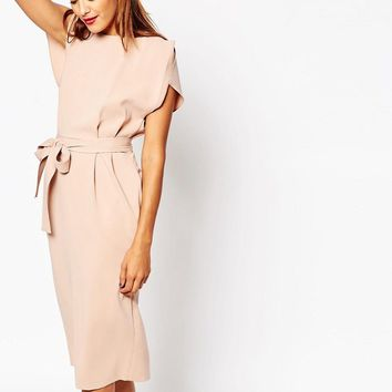 ASOS | ASOS Belted Midi Dress with Split Cap Sleeve and Pencil Skirt at ASOS
