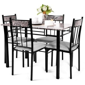 Home Furniture Diy High Gloss Glass Dining Table Set And 4 6