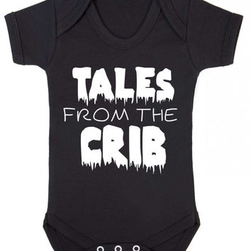 Tales From The Crib Old Horror Movie Poster Parody Halloween Baby Baby Onesuit Vest