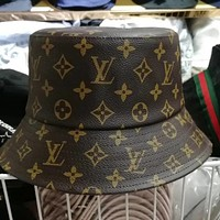 LV Louis Vuitton New Popular Women Men Leather Monogram Print Sports Sun Hat Baseball Cap Hat Coffee I13209-1