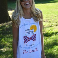 Sweet Tea Tank Top in White by Lauren James - FINAL SALE