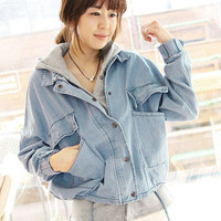 Light Blue Long Overlay Denim Jacket