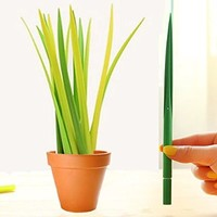 Little Grasshopper Set Grass Leaf Pen and Planter: 12 pack with baby pot
