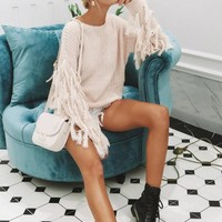 Tassel Sleeve Pullover Sweater
