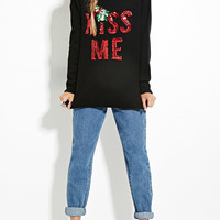 """Black Sequined """"Kiss Me"""" Print Knit Sweater"""