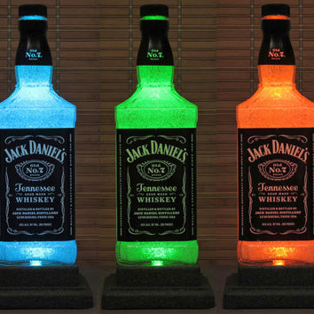 Jack Daniels Tennessee Whiskey LED Color Changing Remote Control Liquor Bottle Lamp Bar Light Man Cave Lighting
