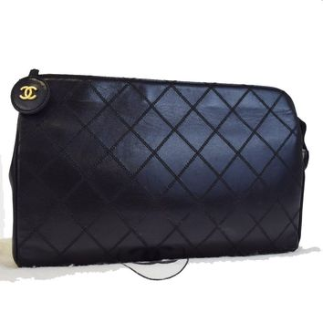 Authentic CHANEL CC Quilted Clutch Hand Bag Leather Black France Vintage 61EA850