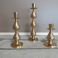 Vintage Candle Holders Brass Candle Holder Mid Century Modern Candle Holder Teardrop Taper Candle Holder Set of 3 Centerpiece